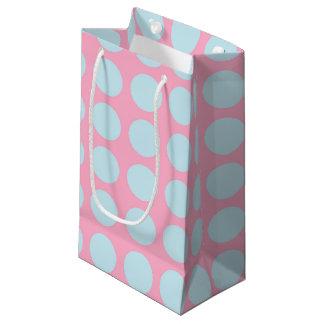 Rose bleu en pastel de pois petit sac cadeau