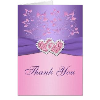 Rose, carte de remerciements jointif floral