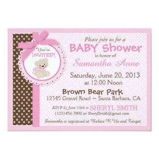 Rose de baby shower de bébé d'ours de nounours carton d'invitation  12,7 cm x 17,78 cm