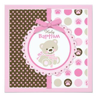 Rose de baptême de bébé d'ours de nounours carton d'invitation  13,33 cm