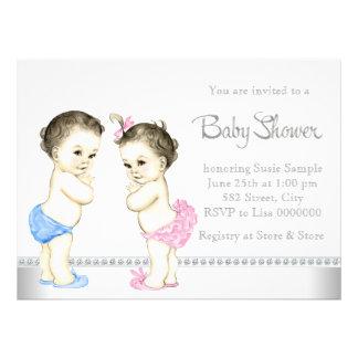 Rose de bébés adorable et baby shower jumeau bleu faire-parts