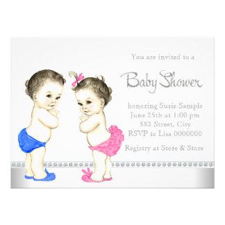 Rose de bébés adorable et baby shower jumeau bleu invitation personnalisée