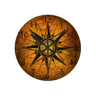 Rose de boussole antique horloge ronde