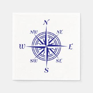 Rose de boussole côtier de bleu marine serviette en papier