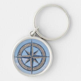 Rose de boussole (sable, eau, ciel) porte-clé rond argenté