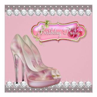 Rose de chaussure de talon haut de diamant et fête carton d'invitation  13,33 cm