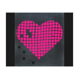 Rose de coeur de puzzle toile tendue sur châssis