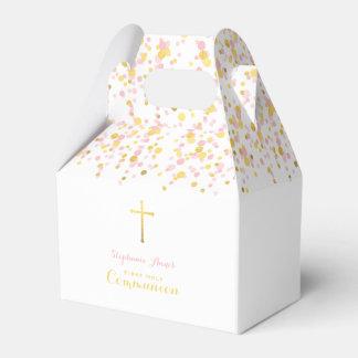 Rose de communion et confettis d'or ballotins