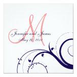 Rose de corail de bleu marine d'invitations de carton d'invitation  13,33 cm