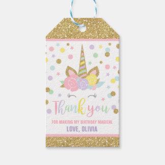 Rose de licorne et étiquette de Merci de cadeau