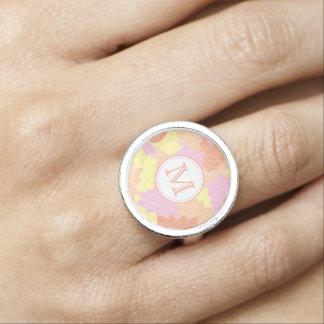 Rose de monogramme de fleur de Lotus/jaune/anneau Bague