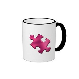 Rose de morceau de puzzle d'autisme mug ringer