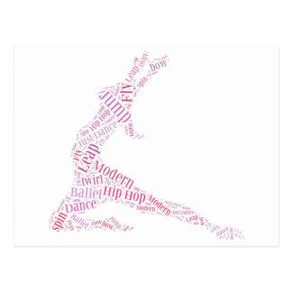 Rose de nuage de mot de danse cartes postales