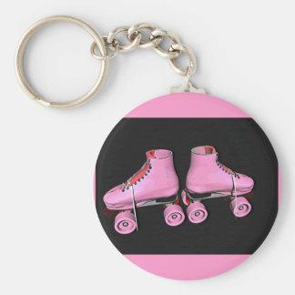 Rose de patins de rouleau porte-clé rond