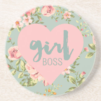 Rose de patron de fille et motif floral bleu de dessous de verre en grès