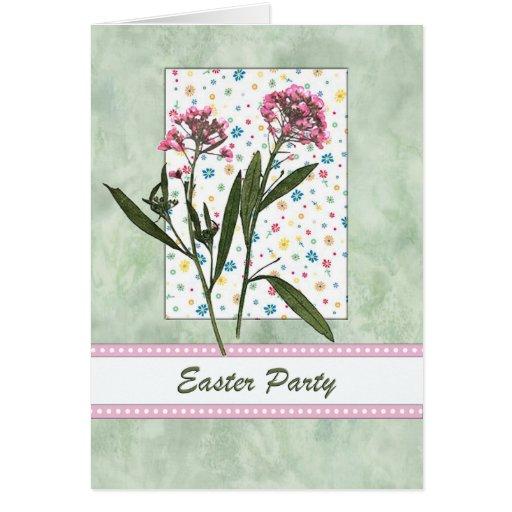 Rose de ressort de Pâques et partie florale verte Cartes De Vœux
