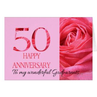 Rose de rose de carte d'anniversaire de parrains