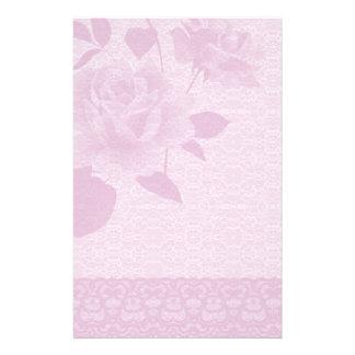 Rose de rose et papeterie de papier de dentelle papeterie