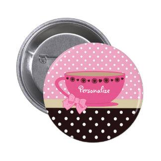 Rose de tasse de thé et arc et nom Girly de point Badges