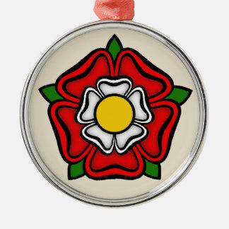 Rose de Tudor de l'Angleterre, emblème de Ornement Rond Argenté