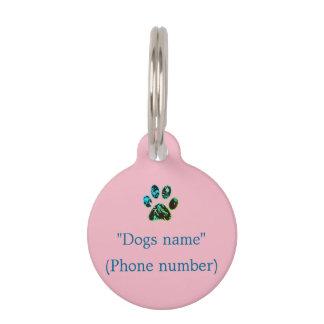 Rose d'étiquette de chien vert-bleu médaillon pour animaux