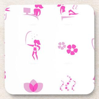 Rose d'icônes de santé sur le blanc dessous-de-verre