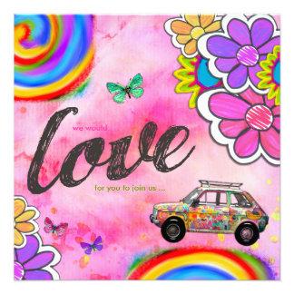 Rose d'invitation de colorant de cravate de hippie