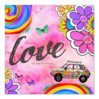 Rose d'invitation de colorant de cravate de hippie carton d'invitation  13,33 cm