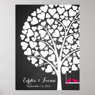 rose d'oiseau d'arbre de livre d'invité de mariage posters