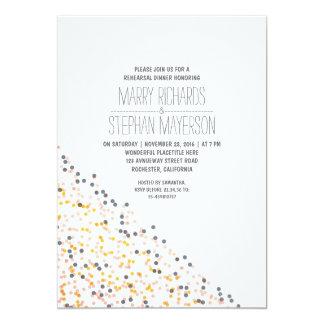 rose d'or et dîner de répétition de confettis de carton d'invitation  12,7 cm x 17,78 cm