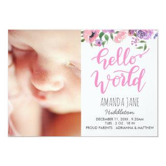 Rose du monde de photo de faire-part de naissance