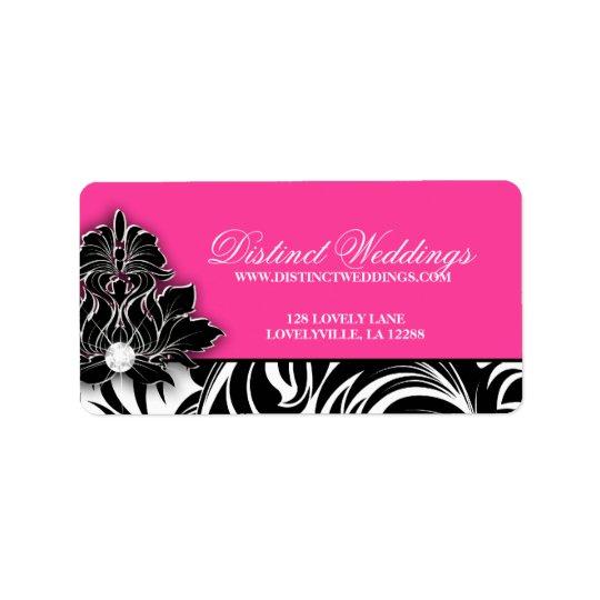 Rose élégant de logo de bijoux d'étiquette de étiquettes d'adresse