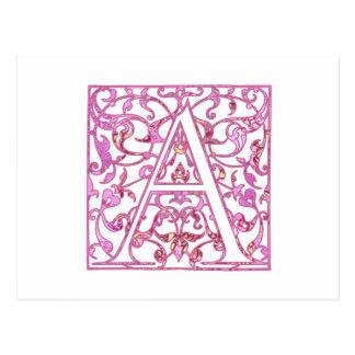Rose en filigrane un monogramme carte postale