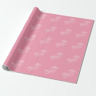 Rose en pastel de couleur solide - M. et Mme Papiers Cadeaux Noël