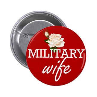 Rose épouse-blanc militaire badge rond 5 cm