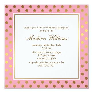 Rose et anniversaire de pois d'or carton d'invitation  13,33 cm