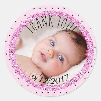 Rose et autocollant personnalisés de photo de bébé