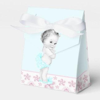 Rose et baby shower bleu turquoise boite de faveur