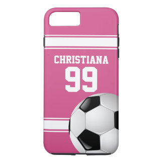 Rose et blanc barre le ballon de football du coque iPhone 7 plus