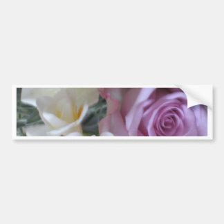 rose et blanc de deux roses autocollant de voiture