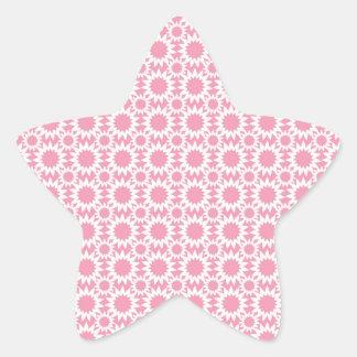 Rose et blanc mignons de motif de fleurs d'étoile sticker en étoile
