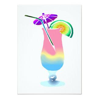 Rose et boisson tropicale bleue carton d'invitation  12,7 cm x 17,78 cm