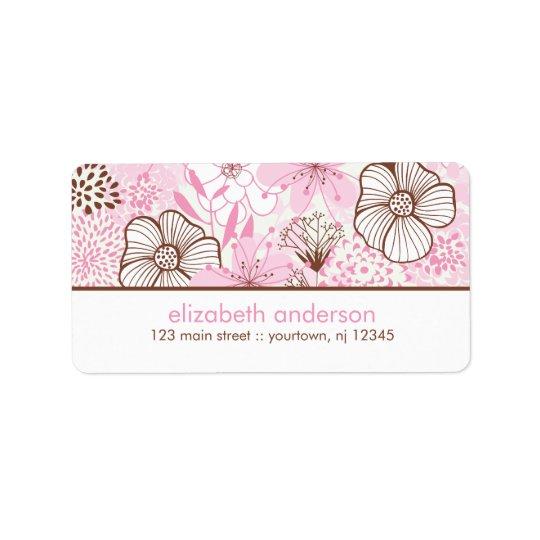 Rose et Brown floraux Étiquettes D'adresse