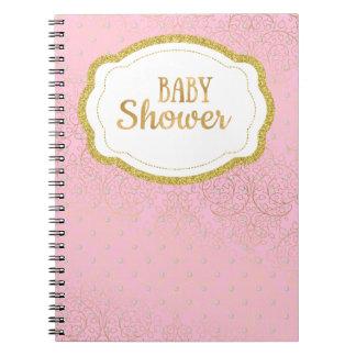 Rose et carnet de livre d'invité de baby shower