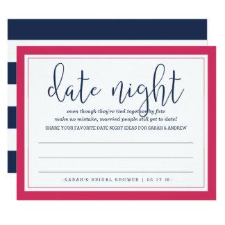 Rose et carte nuptiale de nuit de date de douche carton d'invitation 10,79 cm x 13,97 cm