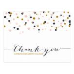 Rose et carte postale de Merci de points de confet