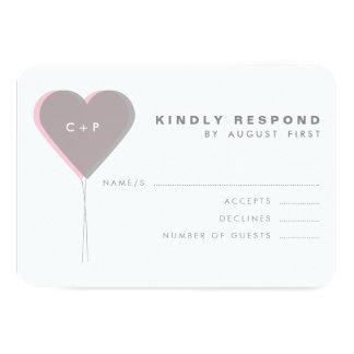 Rose et coeurs jumeaux gris épousant la carte de carton d'invitation 8,89 cm x 12,70 cm