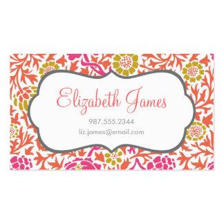 Rose et damassé florale d or rétro cartes de visite personnelles