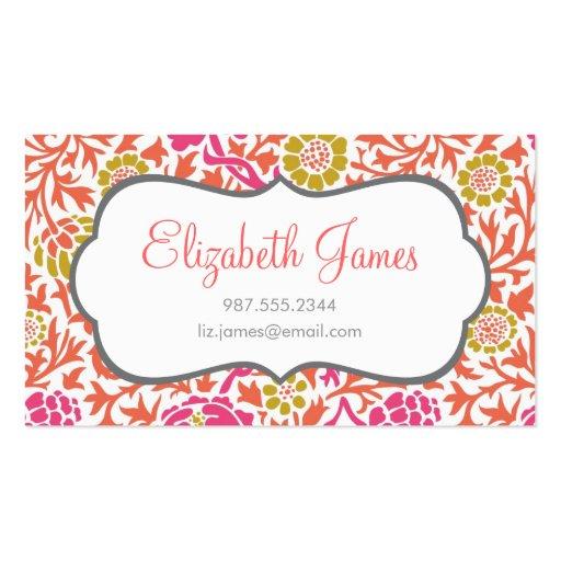 Rose et damassé florale d'or rétro cartes de visite personnelles
