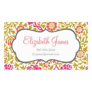 Rose et damassé florale d'or rétro carte de visite standard